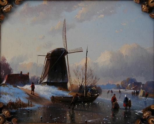 Willem Vester: paneel van een winterlandschap met schaatsers en een slede op het Zuiderbuitenpaarne Heemstede met in de verte de Oude ofwel Grote Bavokerk