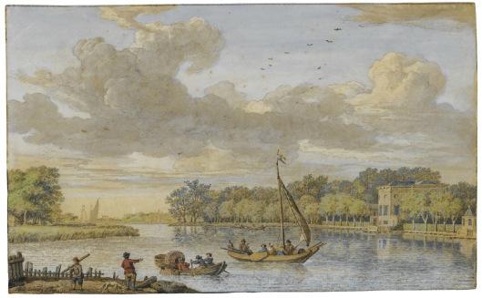 Aquarel van het Spaarne en Sparenhout door Isaac de Moucheron, 1741.
