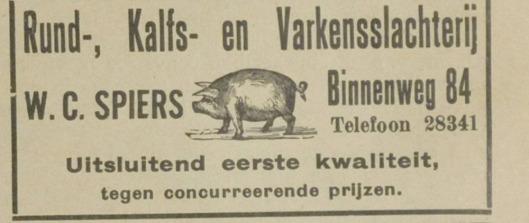 Adv. van slachterij W.C.Spiers, Binnenweg 84 Heemstede. Uit: De Eerste Heemsteedsche Courant van 1-2-1929.