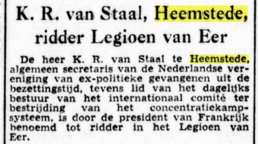 K.R.van Staal,oprichter en algemeen secretaris EXPOGE, benoemd tot ridder Legioen van Eer. Uit: de Tijd, 21-3-1956