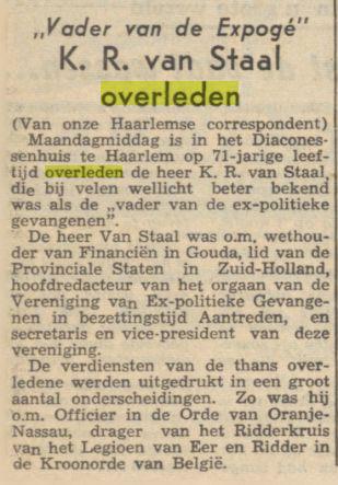K.R.van Staal overleden. Uit: Nieuwsblad van het Noorden, 14-3-1961