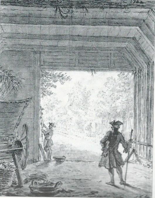Gezicht vanuit de stal van de Dorstige Kuil, getekend door Simon Fokke in 1767