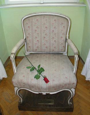 De stoel in het kasteel van Dux waarin Casanova is overleden