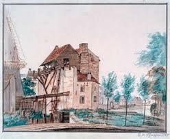 Aquarle van de eerste stoomachine van Engelse makelij (Newcomen-machine) bij het gemaal van de Oostpoort in Rotterdam