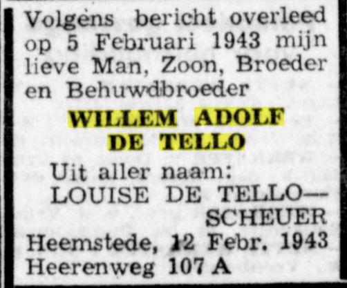 Overlijdensbericht W.A.de Tello, Haarlemse Courant, 20-2-1943