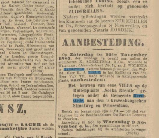 Bericht over aanbesteding Dennenheuvel uit het Algemeen Handelsblad van 4 november 1887