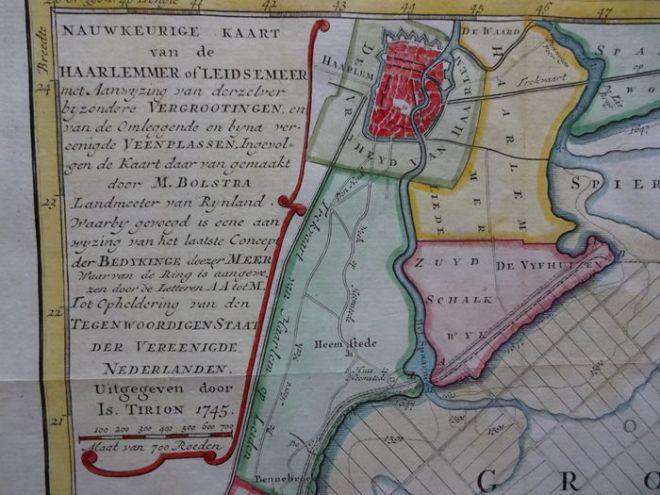 Uitsnede kaart van Haarlemmermeer. Isaak Tirion, 1740 bevattende Haarlem, Haarlemmerliede, Zuid Schalkwijk, Heemstede en Bennebroek