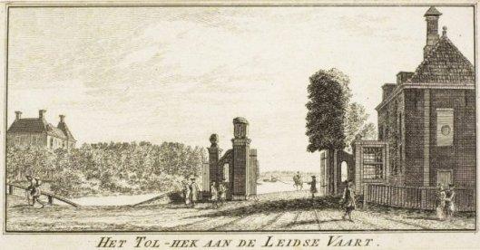 Tolhuis en tolhek van Haarlem in Heemstede. Gravure door Hendrik Spilman uit 1763.
