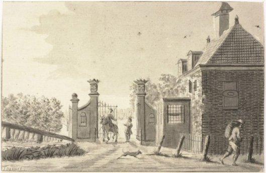 Tekening van tolhuis en tolhek onder Heemstede, door J.Daams, 1770 (NHA)