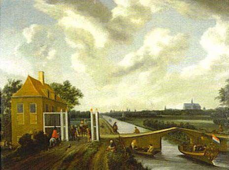 Het oorspronkelijk tolhuis met houten tolhek en stenen brug over de Leidsevaart in 1657. Op de achtergrond de Bavo-kerk in Haarlem.