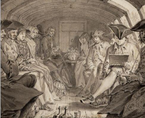 Tekening van Simon Fokke in gezelschap van het Teken-College uit Amsterdam in de trekschuit op de Haarlemmertrekvaart in 1760.