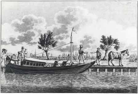 Trekschuit op aquatint door C.C.Fuchs uit omstreeks 1810