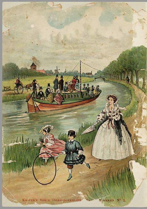 De trekschuit als afbeelding in een oud kinderboek in de Koninklijke Bibliotheek