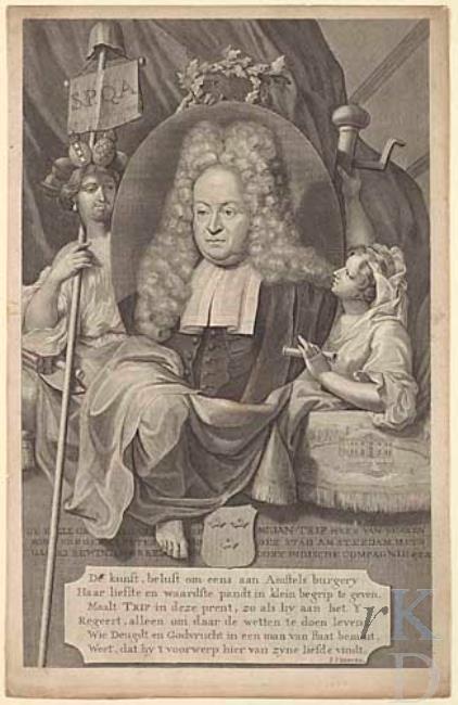 Portretgravure van Jan Trip (1664-1732) die zich sinds zijn huwelijk in 1713 met Elizabeth Tiellens tooide met de titel van Heer van Berkenrode (RKD; iconografisch bureau)