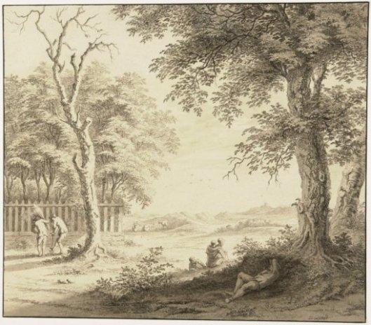De wildernisse rondom de overtuin van de Hartekamp, in 1762 getekend door Gerard van Rossum (Noord-Hollands Aechief)