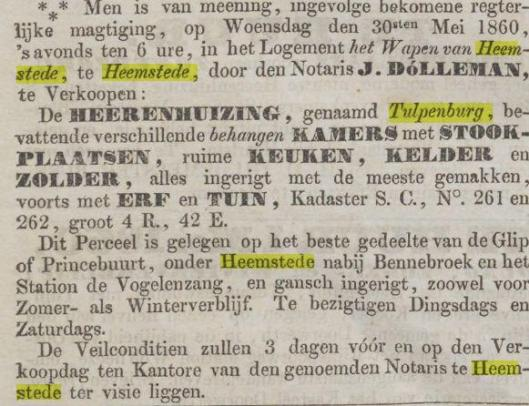 Bericht over verkoop van het buiten Tulpenburg, uit de Haarlemsche Courant van 7-5-1860