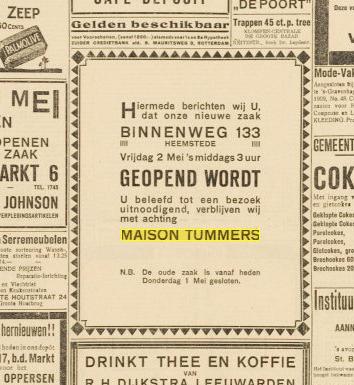 Tummers verhuisde in 1924 van Binnenweg 42 naar Binnenweg 133