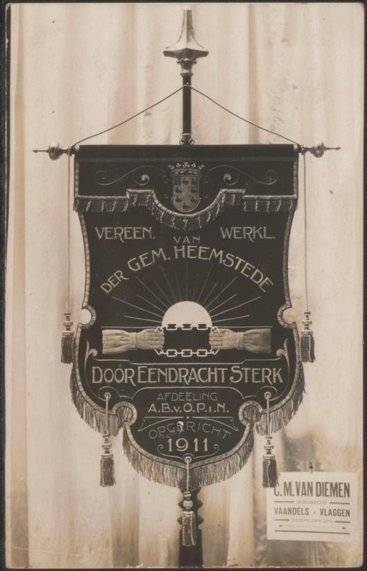 Vaandel van vereniging van werklieden van de gemeente Heemstede 'Door Eendracht Sterk', opgericht in 1911 (Archief Dordrecht)