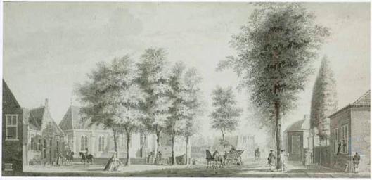 Kerkplein Heemstede door Paulus van Liender (1746-1797). Rechts koepel, toegangspoort en koetshuis van de hofstede Valkenburg (RKD)