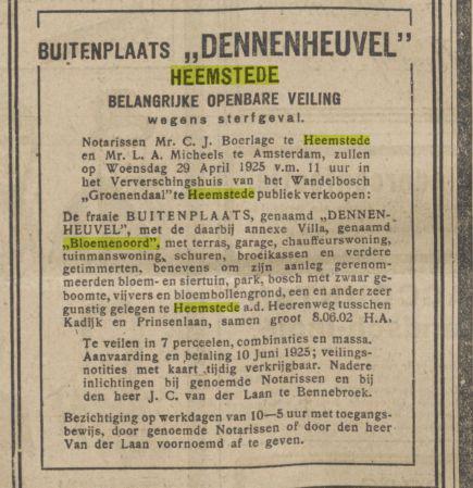 Veiling van Dennenheuvel + Bloemenoord. Uit Algemeen Handelsblad, 14-4-1925. Aangekocht door Rhodius
