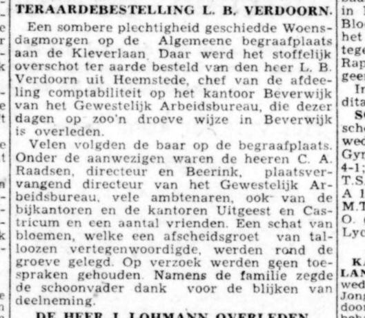 Bericht over teraardebestelling L.B.Verdoorn uit Haarlemsche Courant van 8 december 1943.