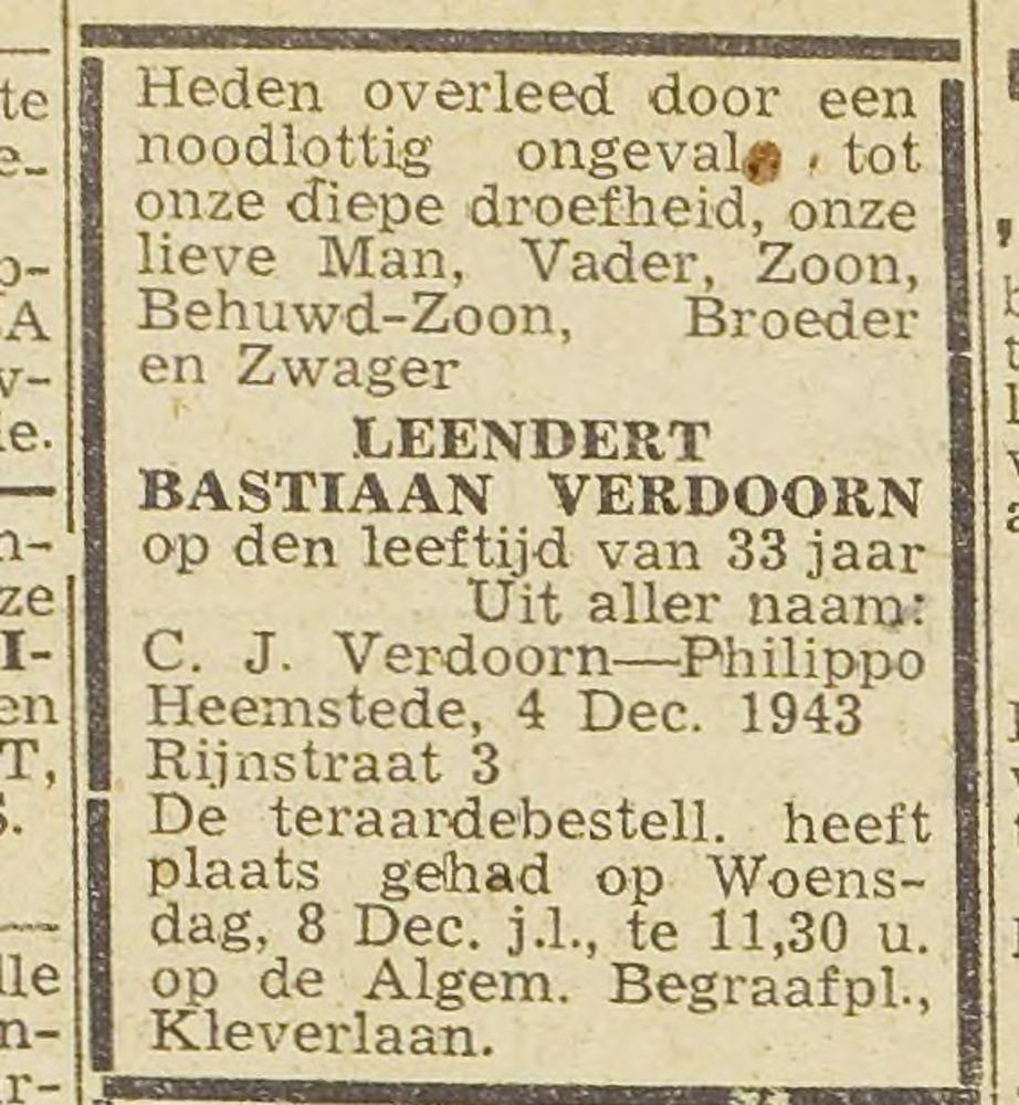 Familiebericht Verdoorn uit Haarlem's Dagblad van 14 december 1943.