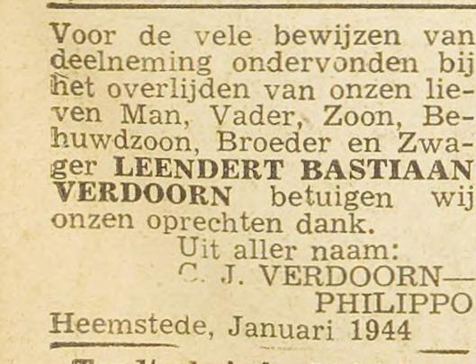 Familiebericht betreffende Leendert Basriaan Verdoorn. Uit