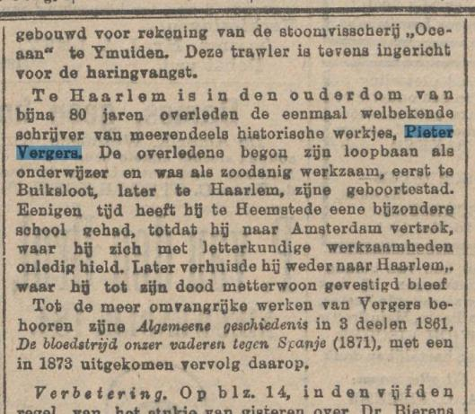 Bericht over het overlijden van Pieter Vergers. Uit: Het nieuws van den dag, 30 mei 1901.