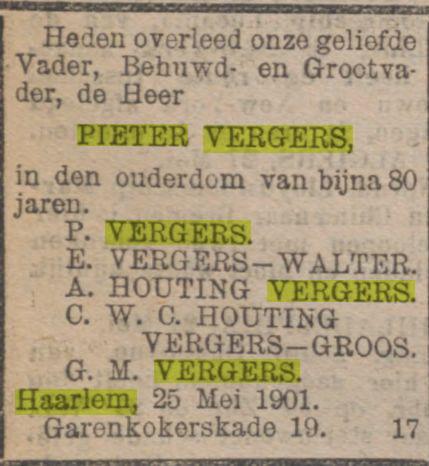 Overlijdensadvertentie Pieter Vergers. Uit Rotterdamsch Nieuwsblad, mei 1901