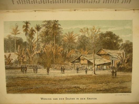 Een van de 7 litho's van L.van Leer uit: P.Vergers, De oorlog met Atchin, beschreven en afgebeeld voor het Nederlandsche volk. Doesborgh, J.C.van Schenk Brill, 1875.
