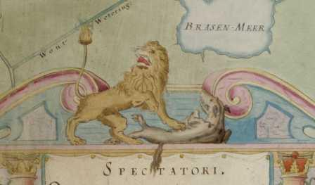 In 1640 vervaardigde waterbouwkundige A.Veris (11 jaar na Leeghwater, 1629) een nieuw inpolderingsplan om met 108 molens het Haarlemmermeer droog te malen. Een plan dat niet werd uitgevoerd. Op de bijgevoegde kaart van het Meer zien een Hollandse Leeuw afgebeeld die vecht tegen de wrede waterwolf, een allegorie op de Hollandse strijd tegen het water.