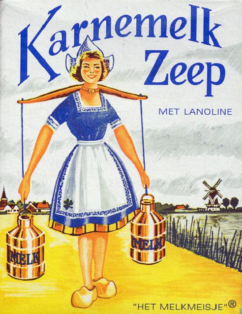 Verpakking van 'Het Melkmeisje' zeep in de jaren 70 en 80 van de vorige eeuw