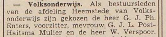 Benoeming van Wim Verspoor als bestuurslid van Volksonderwijs, afdeling Heemstede (H.D., 23 april 1959).