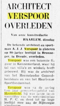 Overlijden van A.J.J.Verspoor. Uit: De Telegraaf van 18-10-1976