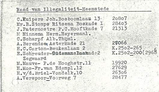 Van 1943 tot 1945 maakte de heer A.Verspoor deel uit van de Raad voor Illegaliteit in Heemstede.