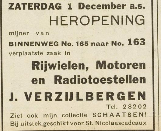Rijwielhandel J.Verzijlbergen, Binnenweg 163 (Adv. Eerste Heemsteedsche Courant van 30-11-1934)