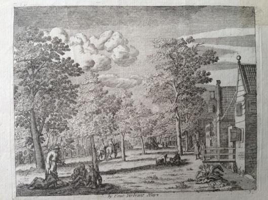 De herberg 't Oud Verbrand Huis in de Haarlemmerhout, gravure van Jan Vincentszoon van der Vinne, circa 1700