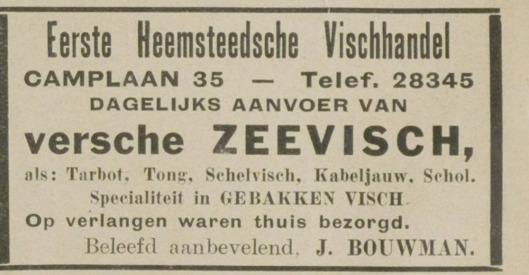 Adv. van Eerste Heemsteedsche Vishhandel in de Camplaan. Uit: De Eerste Heemsteedsche Courant van 1-2-1929.