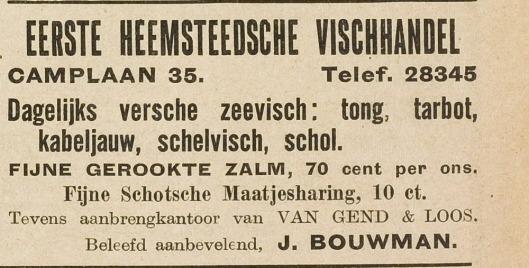 De Eerste Heemsteedsche Vishandel was eerst eerst gevestigd op het adres Camplaan 35 (adv. uit De Eerste Heemsteedse Courant uit 1935)