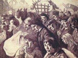 Belgische vluchtelingen in 1914 op weg naar Nederland, getekend door George van Raemdonck