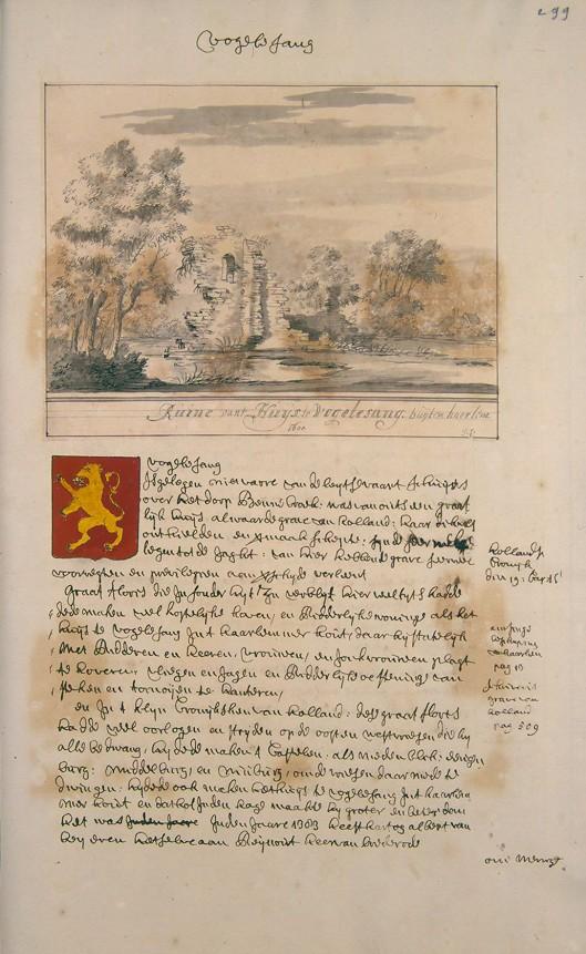 Ruïne van het Huis te Vogelesang buyten Haarlem, 1600. Uit: Atlas Schoemaker, 1710-1735 (Koninklijke Bibliotheek)