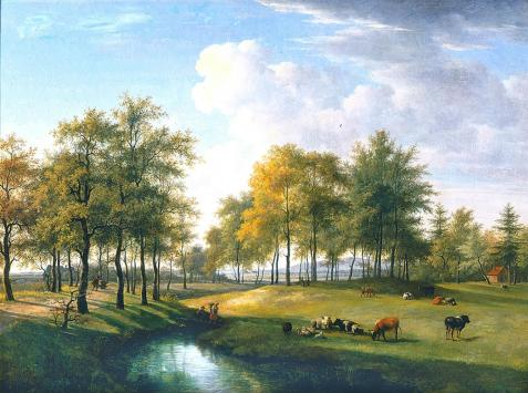 Landschap te Vogelenzang. Schilderij uit 1834 van Gerrit Jan Michaëlis (1775-1857) in Teylers Museum
