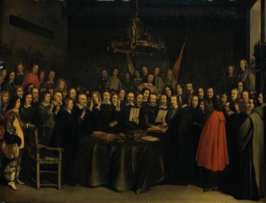 Vredessluiting in Munster met de gevolmachtigden van de Koning van Spanje o.l.v. graaf de Penerande (rechts) en links van de tafel de 7 gevolmachtigden van de Staten-Generaal. Voraan de tafel tweede van links met baardje ridder dr. Adriaen Pauw, Heer van Heemstede