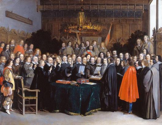 De Vrede van Munster in 1648 door Gerard ter Borch. Tweede van links staat Adriaan Pauw, Heer van Heemstede