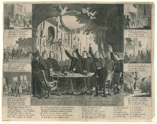 De beëdiging van de Vrede van Munster, 1648. Op middenprent staat links de Spaanse delegatie en rechts de Nederlandse ambassadeurs; vierde van links Adriaan Pauw. Anonieme historieprent, uitgegeven door Hugo Allard.