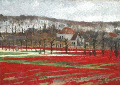 Bloemvollenvelden en huize Vredeoord (Bennebroekerlaan) in Bennebroek, geschilderd door Hart Nibbrig