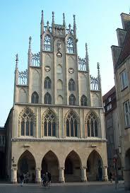 Het oude raadhuis van Münster waarin zich de Vredeszaal bevindt. Tijdens WO11 verwoest en na de oorlog herbouwd.