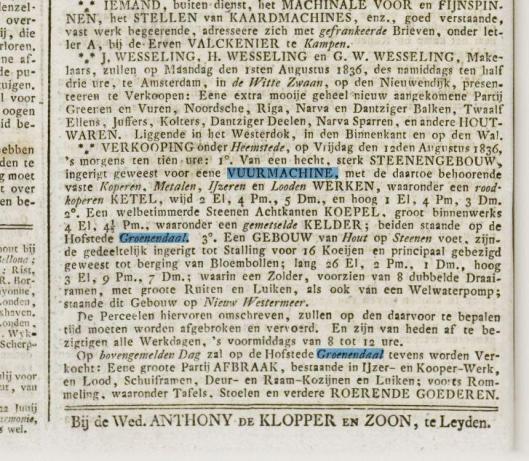 Advertentie over verkoop pomphuis vm vuurmachine Groenendaal uit o.a. de Leydse krant en Oprechte Haarlemsche Courant van 29 juli 1836