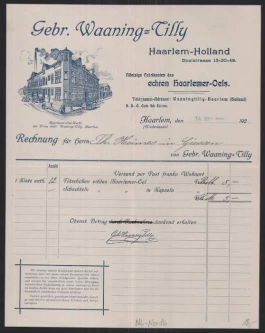 Rekening van Waaning-Tilly, producent van Haarlemmerolie