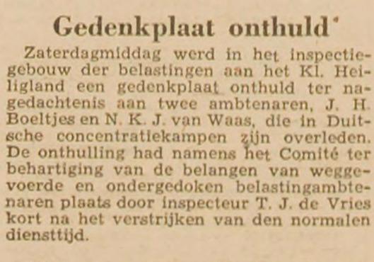 Gedenkplaat voor N.K.J.van Waas. Uit: Haarlem's Dagblad van 4 maart 1946